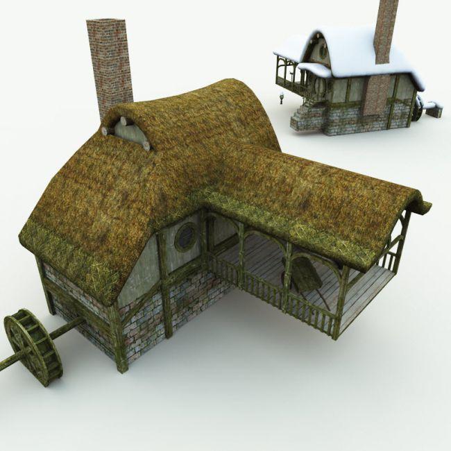 halfling-village-watermill-for-blender