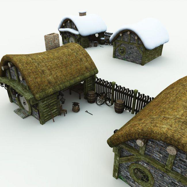 halfling-village-blacksmith-for-blender