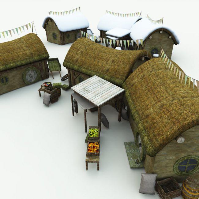 halfling-village-market-for-blender