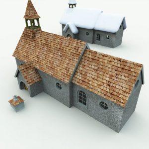 halfling-village-church-for-blender
