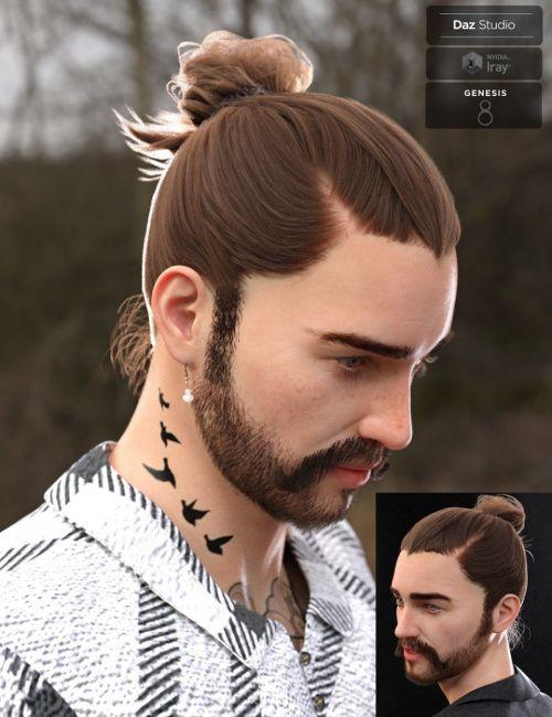 yvanovich-bun-hair-and-beard-for-genesis-8-male(s)