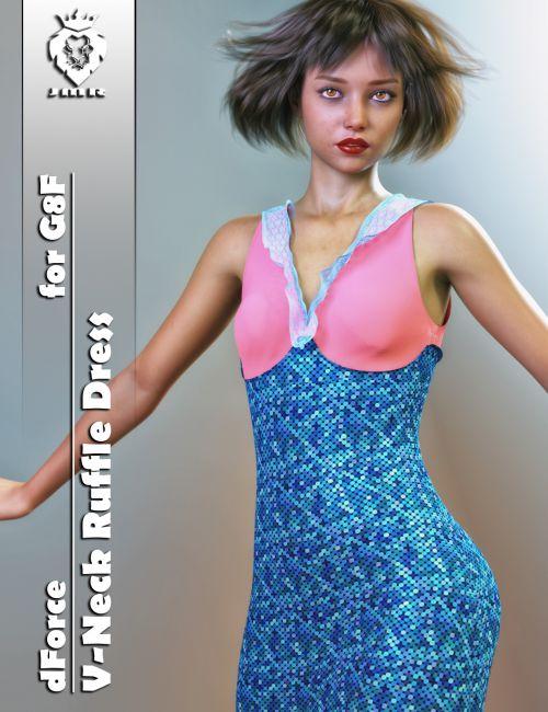 jmr-dforce-v-neck-ruffle-dress-for-g8f