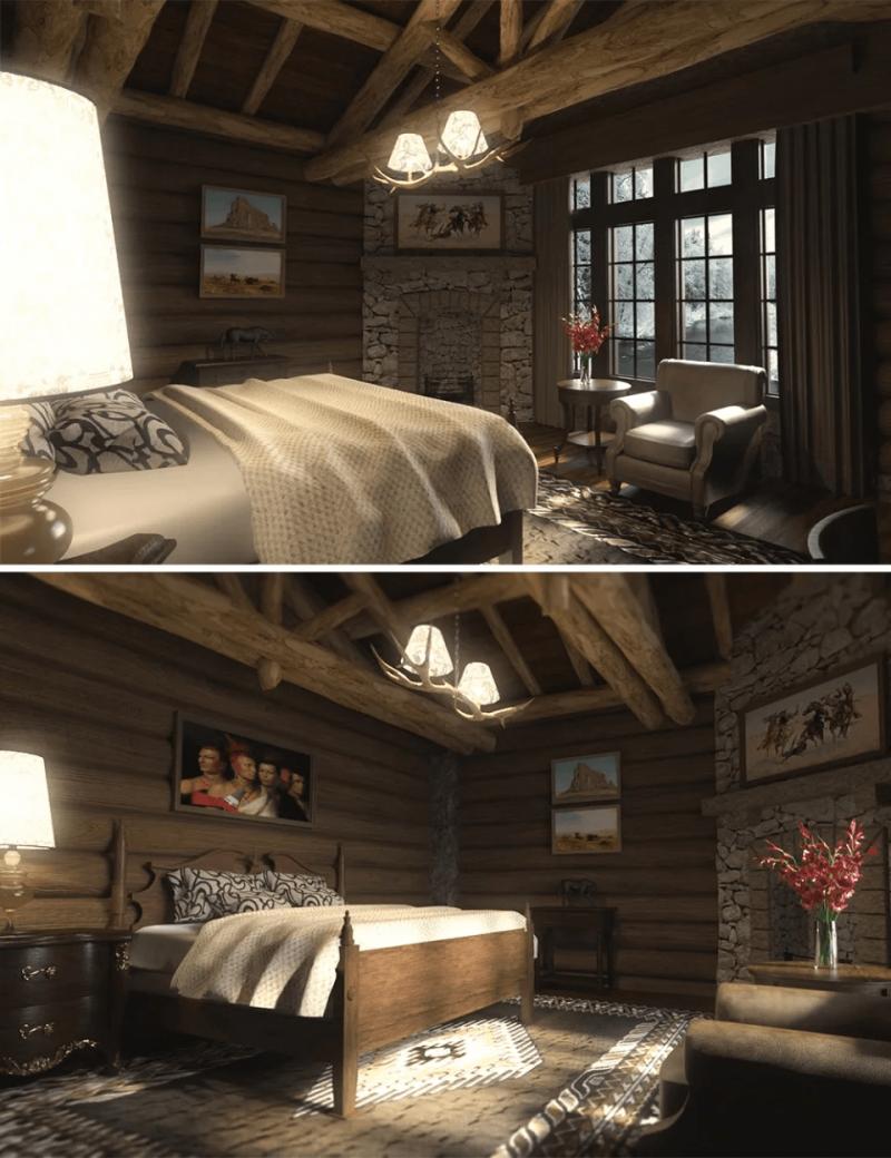 log-house-bedroom